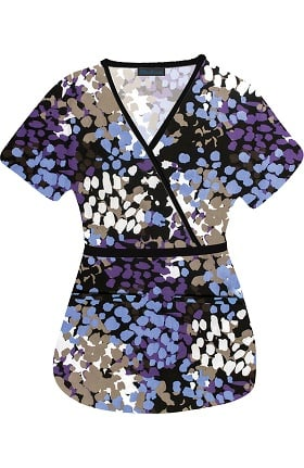 Clearance Medgear Women's Mock Wrap Abstract Print Scrub Top