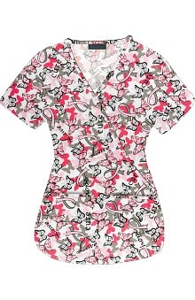 Medgear Women's Mock Wrap Butterfly Print Scrub Top