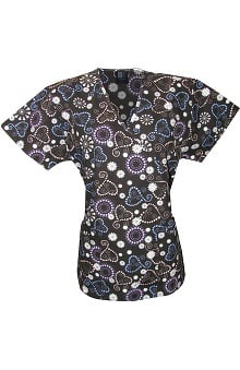 Medgear Women's Mock Wrap Heart Print Scrub Top