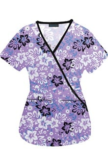 Medgear Women's Mock Wrap Floral Print Scrub Top