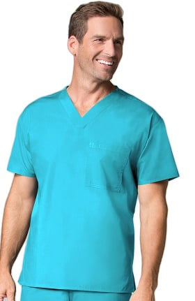Core by Maevn Unisex V-Neck 1 Pocket Solid Scrub Top