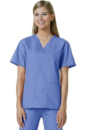Core by Maevn Women's V-Neck Mock Wrap Solid Scrub Top