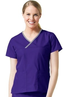 Core by Maevn Women's Y-Neck Mock Wrap Solid Scrub Top