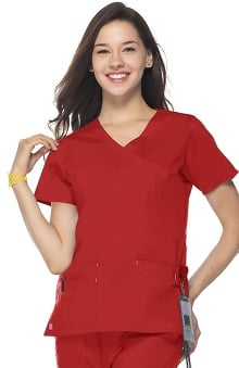 Blossom by Maevn Women's Princess Seam Mock Wrap Solid Scrub Top
