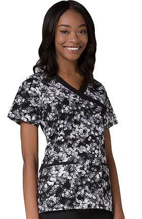 Clearance Maevn Uniforms Women's Mock Wrap Floral Print Scrub Top