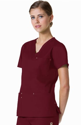 Blossom by Maevn Women's V-Neck 3 Pocket Solid Scrub Top