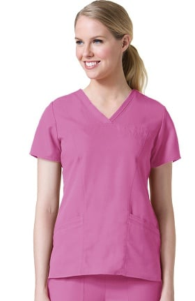 Gravity by Maevn Women's Sporty Princess Seam V-Neck Solid Scrub Top