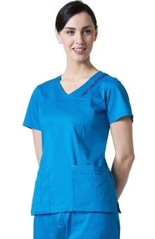 Blossom by Maevn Women's Triple Pin Tuck Mock Wrap Solid Scrub Top