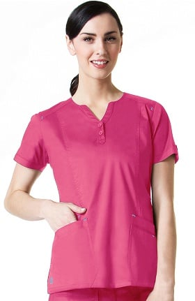 Blossom by Maevn Women's Y Neck Multi Pocket Solid Scrub Top