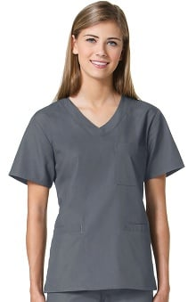 Core by Maevn Women's Sporty V-Neck Solid Scrub Top