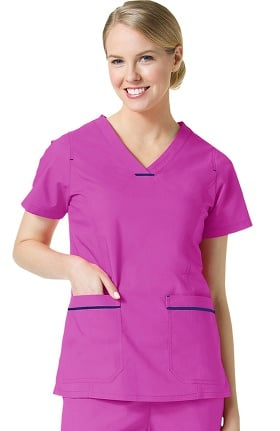 Primaflex by Maevn Women's Curved V-Neck Contrast Pocket Scrub Top