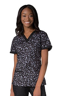 Maevn Uniforms Women's V-Neck Animal Print Scrub Top
