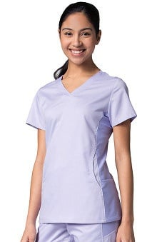 Active By EON Women's Mesh Panel V-Neck Solid Scrub Top