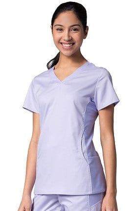 EON Women's COOLMAX® Mesh Panel V-Neck Solid Scrub Top