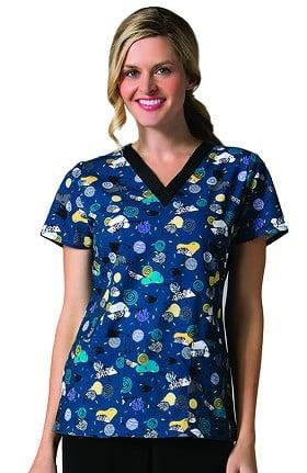 Maevn Uniforms Women's V-Neck Hedgehog Print Scrub Top