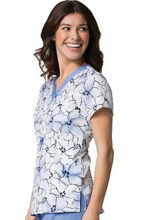 Maevn Uniforms Women's V-Neck Floral Print Scrub Top