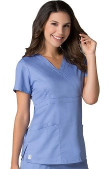 EON Women's COOLMAX® Mock Wrap Mesh Panel Solid Scrub Top