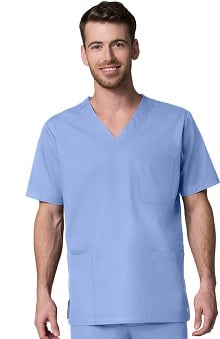 Red Panda Men's V-Neck Solid Scrub Top
