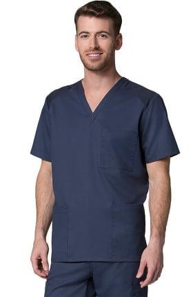 Maevn Uniforms Men's V-Neck Mesh Panel Solid Scrub Top