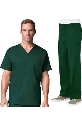 Blossom by Maevn Men's V-Neck Stretch Solid Scrub Top & Zip Fly Cargo Scrub Pant Set