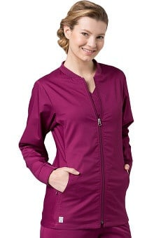 Active By EON Women's Coolmax® Mesh Panel Solid Scrub Jacket