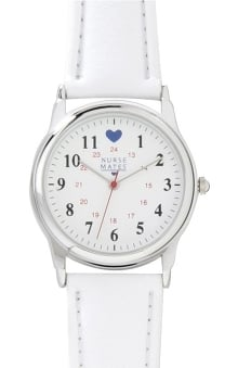 Nurse Mates Gold Military Dial with Blue Heart Watch