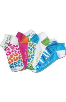 Nurse Mates Women's Ankle Animal Print Socks 6 Pack