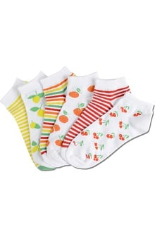 Nurse Mates Women's Ankle Fruit and Stripe Print Socks 6 Pack