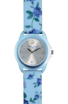 Nurse Mates Women's Blue Floral Watch