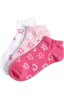 Nurse Mates Women's Ankle Heart Print Socks 3 Pack