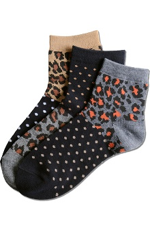 Nurse Mates Women's Polka Dot Leopard Print Socks 3 Pack