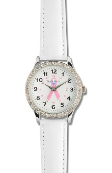 Nurse Mates Women's Pink Ribbon Rhinestone Watch