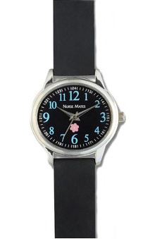 Nurse Mates Women's Black And Blue Oval Watch