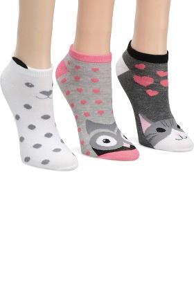 Nurse Mates Women's Critter Print Anklet Sock 3 Pack