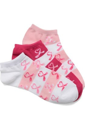Nurse Mates Women's Pink Ribbon Ankle Socks 3 Pack