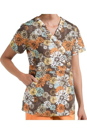 Nurse Mates Women's Bella Mock Wrap Floral Print Scrub Top