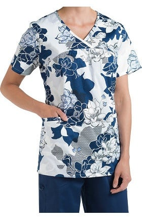 Nurse Mates Women's Briana Mock Wrap Floral Print Scrub Top