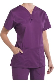 Clearance Nurse Mates Women's Caitlyn Solid Henley Scrub Top