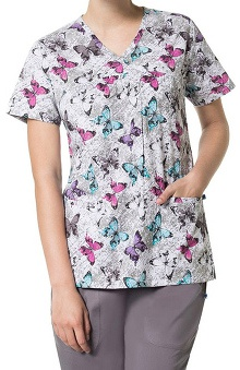 Nurse Mates Women's V-Neck Callie Babydoll Butterfly Print Scrub Top