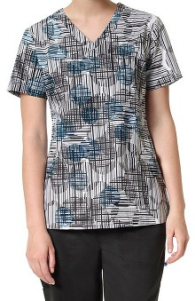 Nurse Mates Women's Cara V-Neck Geometric Print Scrub Top