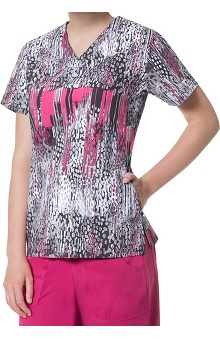 Nurse Mates Women's Cassie V-Neck Abstract Print Scrub Top