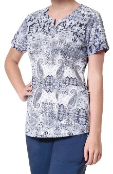 Nurse Mates Women's Celina Notch Neck Abstract Print Scrub Top
