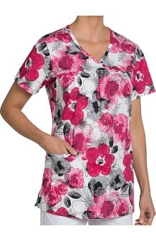 Nurse Mates Women's Haley Y-Neck Floral Print Scrub Top