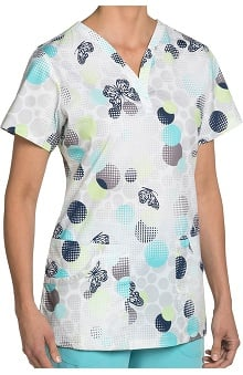 Nurse Mates Women's Hallie Modified V-Neck Butterfly Print Scrub Top
