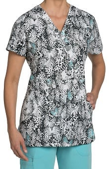 Nurse Mates Women's Hannah Mock Wrap Butterfly Print Scrub Top
