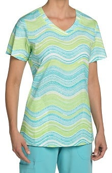 Nurse Mates Women's Haven V-Neck Stripe Print Scrub Top