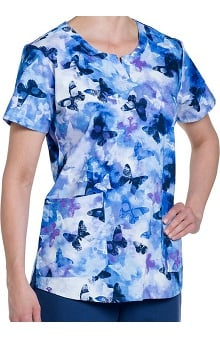 Nurse Mates Women's Kamie Notch Neck Print Scrub Top