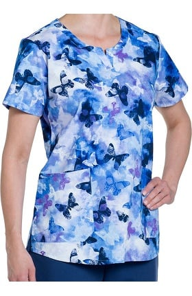 Clearance Nurse Mates Women's Kamie Notch Neck Print Scrub Top