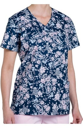 Clearance Nurse Mates Women's Kara Y Neck Floral Print Scrub Top