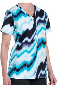 Nurse Mates Women's Kiley V-Neck Print Scrub Top